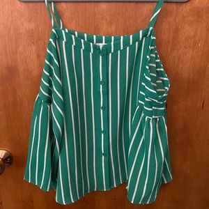 Green off the shoulder Charming Charlie top